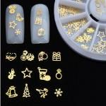 χριστουγενιάτικα διακοσμητικά γιά νύχια  Christmas Series Metal Nail Studs 3D Nail Decoration